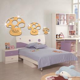 Wholesale Happy Surface - 3D 3pcs PVC Cartoon Happy Mushroom Nursery Kids Room Decor Reflective Acrylic Mirror Decorative Mirrors Large
