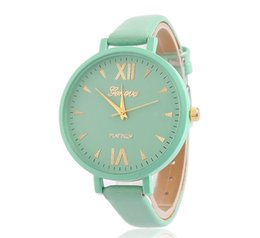 Wholesale Thin Crystal Glass - Women Quartz-watch Fine Crystal Fine Leather Strap Ladies Watch Gold Plated Big Thin Dial Dress Wrist Watch reloj mujer
