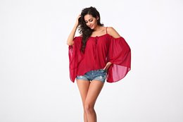 Wholesale Plus Size Upper Garments - Summer new word shoulder loose plus-size bat sleeve chiffon unlined upper garment fashion condole