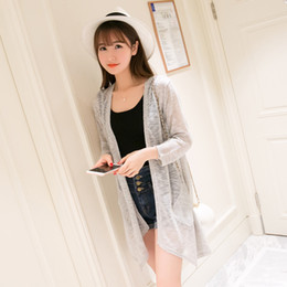 Wholesale female gilet - Wholesale- 2016 summer sweater women Long knitted cardigan women Sunscreen gilet femme manche longue pull femme female