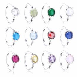 anillo de diamantes de cristal swarovski 18k Rebajas Compatible con la joyería europea 925 auténticos anillos de bodas de plata con cristal para mujeres de alta calidad 12 colores
