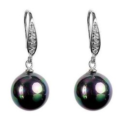 Wholesale Southsea Pearls Earrings - Crystal Dangle Black Multicolored Southsea Mother-of Shell Pearl Earring 12mm