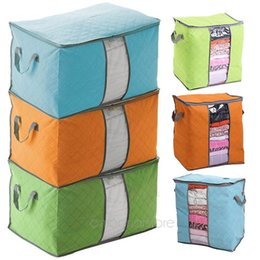 Wholesale Hot Box Clothing - Hot Sale Foldable Storage Box Portable Organizer Non Woven Clothing Pouch Holder Blanket Pillow Underbed Storage Bag Box #5