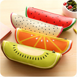 Wholesale School Crayons - Wholesale- 2016 Fashion Fruit Pencil Bags Special Pen Holders School Supply Summer Pencil Case Gift for Kid crayon sacs