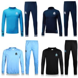 Wholesale track jogging suits - new 2017 Olympic Marseille Tracksuit Soccer Jogging Football Tops Coat Pants Sports Training 16 17 18 Suit Men Adults OM Football Track Suit