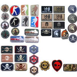 Wholesale Fabric Armbands - Outdoor HOOK and LOOP Fastener Armband Patches Embroidered Badges Fabric Armband Stickers Shooting Spartan Skeleton Patch NO14-108
