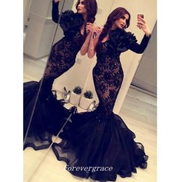 69fd4cc877a Elegant Black Arabic India Long Sleeve Evening Dress Mermaid Lace Sweep  Train Formal Prom Party Gown Custom Made Plus Size