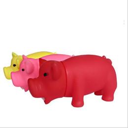 Piscina solida online-Cane da compagnia mastica giocattolo in gomma suono maiale divertente maiali shrilling carino spremere giocattolo bagno piscina nuotare maiale urlando