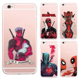 Wholesale Iphone Superhero Cases - Anime Marvel Soldier Deadpool Back Case For iPhone 6 6S Plus Case Marvel Comics Superhero Silicone Phone Cover For Samsung s8