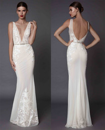Wholesale Embroidered Floor Length Dress - sexy sheath evening dresses 2017 muse berta bridal deep plunging v neckline embroidered bodice open low back sweep train