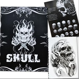 Wholesale Tattoo Supplies Books Flashes - Wholesale-Selected Skull Tattoo Books Design A4 Sketch Flash Book Tattoo Art Supplies 76 Pages Hot Selling