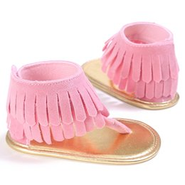 Wholesale Boy Shoes Flip Flop - Wholesale- 2017 0-18M Baby Girls Toddler Newborn Girl Baby Shoes Tassel Summer Shoes Anti-slip Flip Flop Newborn Prewalker