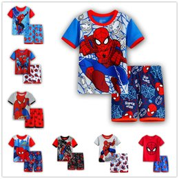Pigiama spiderman 3t online-Spiderman Ragazzi Cartoon Pigiama Adatto Bambini Magliette a manica corta + Pantaloncini 2 pz Set Estate Bambini Camicie da notte Sleepwear Infantile Bambino Homewear