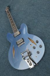 Wholesale Guitar Flower Custom - Custom Shop Blue Flame top Hollow Jazz Guitar Flower Fingerboard Gold Hardware Wholesale Guitars