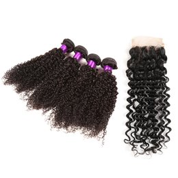 Wholesale Curly Silk Lace Closures - 10A Mongolian kinky curly hair 4*4 silk base lace closure 100% human virgin hair bleached knots rosaqueen hair product dhl free shipping