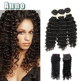 Wholesale Cheap Virgin Hair Free Shipping - 8a ANNO Virgin Hair With Closure 4x4 Lace Closure With 3 Bundles Cheap Bundle With Closures Deep Wave DHL Free Shipping