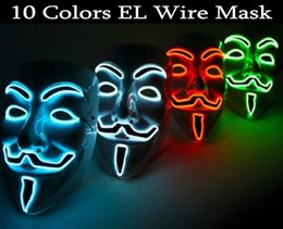 Wholesale Guys Halloween Costume - Wholesale-2016 New EL wire EL MASK Vendetta Party Fashion V Cosplay Costume Guy Fawkes Anonymous mask for party Halloween scary decoration