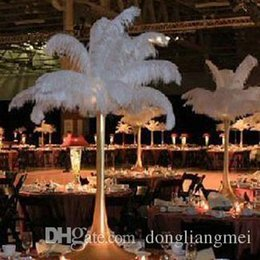 Wholesale Flower Balls For Centerpieces - factory price 100pc White Ostrich Feather Plume AAA quality for flower ball wedding centerpieces table decoration#Z134