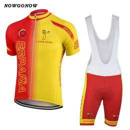 Wholesale Spain Cycling - NEW Customized Jiashuo 2017 SPAIN ESPANA Retro Classical mtb road RACING Team Bike Pro Cycling Jersey Sets Bib Shorts Clothing Breathing Air
