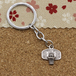 Wholesale Basket Chain - New Fashion 30mm Metal Key Ring Key Chain Jewelry Antique Silver Plated basketball basket 20*19mm Pendant
