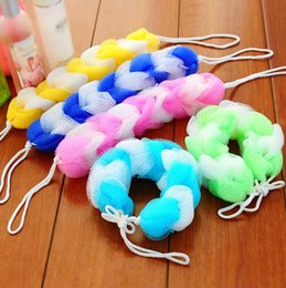 Wholesale Wholesale Shower Wash - Wholesale-2Pcs Bath Shower Body Exfoliate Strap Sponge Ball Flower, Mesh Net Shoulder Scrubber Long Sponge Shower Body Wash Brush Foaming