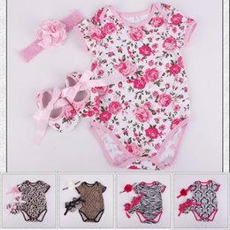 Wholesale Baby Girl Black Outfit - 2017 Kids Clothing Set Baby Clothes Floral Leopard Print Girls Spring Summer Boutique Children Toddler Outfits Romper Shoes Headband