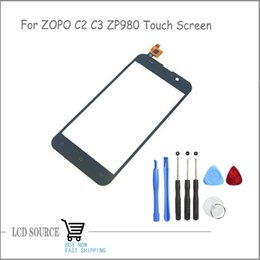 Wholesale Digitizer Zopo - Wholesale-Original For ZOPO C2 Touch Screen Digitizer Sensors Outer Glass Black Repair Parts With Free Tools