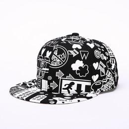 Wholesale Sunshade Caps - 2017 Fashion Summer Sunshade Baseball Hat Male City Doodle Flat Along The Hip-hop Cap Peaked Cap Men Hats