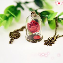 Wholesale Red Belle - Beauty and The Beast Enchanted Rose Inspired Pendant Belle Necklace Dry Rose Glass Dome mirror Charm bronze tone Long Necklace