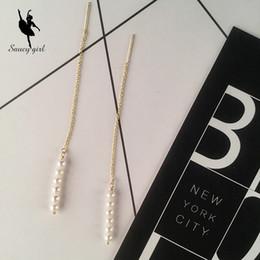 Wholesale Freshwater Pearl Earrings Set - Women Fashion Style 18K gold Ear Line Jewelry Sets Earrings Ear Hook Female Natural Freshwater Pearls