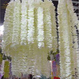 Wholesale Purple Christmas Wreath - White Artificial Orchid Wisteria Vine Flower 2 Meter Long Silk Wreaths For Wedding Backdrop Decoration Shooting Props 20pcs lot