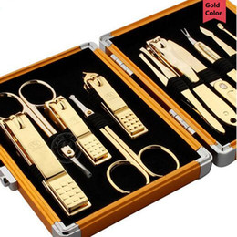 Wholesale Manicure Kit Gifts - Wholesale- 11 Pcs set Gold Color Nail Clipper Kit Nail Tools Nail Care Scissor Tweezer Knife Ear Pick Manicure Tools+grid Case Great Gift