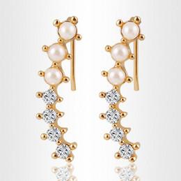 Wholesale White Fake Pearls Wholesale - Fashion Gold Alloy Shining Crystal Fake Pearl Ear Cuff Earrings Women Zircom Crystal Stud Earrings Jewelry Wedding Gifts HZ