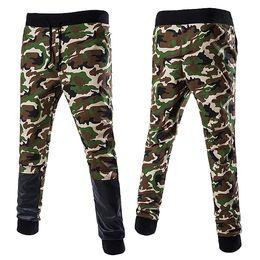 Wholesale Leather Harem Trousers - Wholesale- Mens autumn army fashion hanging crotch jogger pants Leather patchwork harem pants men crotch big Camouflage pants trousers
