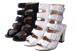 Wholesale Womans Buckles - Women summer boots high gladiator sandals womans shoes Multi-ring belt buckle high boots High heels Sandals with thick heels
