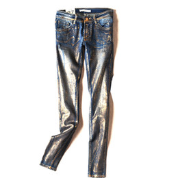 Wholesale Paints Female Jeans - Wholesale- 16 France USA England New Hot Stamping Process Gold Colored Vintage Jeans pants Personality Female Youth Trousers Punk pants