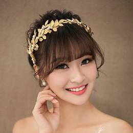 Wholesale Gold Leaves Hair Accessories - Pearl Crystal Gold plated Leaves Vine Wedding Headband Hair Accessories Bridal Headwear Hair Jewelry Rhinestone Head Chain NE197