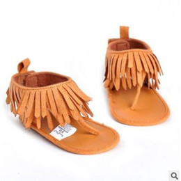 Wholesale Sandal Thongs - Newborn Princess Baby Shoes Tassel Thong Sandal for Girls 2017 Summer PU Leather Tassel Shoes Princess Baby Girl Shoes Toddler Bebe Sandals