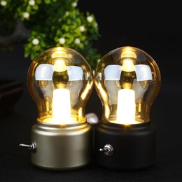 Wholesale Classical Table Lamps - Wholesale- 2017 New Year Led bulb Classical blowing desk lamp decoration light Retro USB Rechargeable Night Light Desk Table LED Lamp