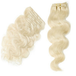 Wholesale Cheap Remy Hair Full Head - Clip In Remy Hair Extensions #60 Blonde Body Wave Cheap Indian Full Head Clip In Human Hair Extensions 10pcs set 120g set