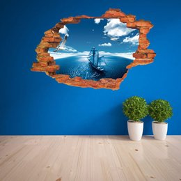 Wholesale United Landscaping - Europe and the United States the new blue sky sea sailing 3d wall paste living room decorative creative three - dimensional wall stickers