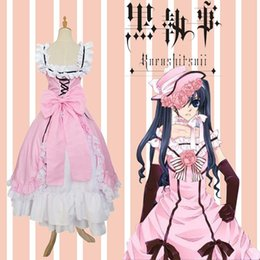 Wholesale Womens Gloves Hats - New Anime Black Ministers Deacon Shire Charles Cos Cosplay Costumes Womens Cute Long Dresses Skirts with Hat and Gloves