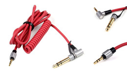 Wholesale Beating Headphones - Black & Red 6.5mm & 3.5mm Spring Replacement Audio Cable Headphone for Monster Beat Pro Detox Solo AUX Cable