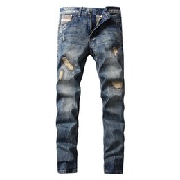 Wholesale High Waist Distressed Jeans - 2017 High Quality Men Skinny Jeans Faded Effect Men Denim Pants Slim Biker Jeans For Men Distressed Denim 29-40 Inches Waist