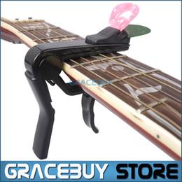 Wholesale Black Classical Guitars - Wholesale- Alice Black Alloy Guitar Capo For Acoustic  Electric  Classical Guitar, Cappo On Guitarra With Pick Holder New