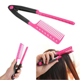 Wholesale Hair Straightener V Comb - Professional Hair Combs Fashion V Type Hair Straightener Comb DIY Salon Hairdressing Styling Tool Comb CCA6756 100pcs