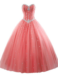 Wholesale Cheap Sweet 16 Gowns - 2017 Sexy Cheap Tulle Ball Gown Quinceanera Dresses with Beaded Crystals Sweet 16 Gown Lace Up Floor Length Vestido De Festa BM77