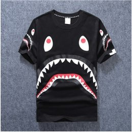 Wholesale Bird Top - Mens women lovers Sportwear Tshirts Jogger Tracksuit cotton Crewneck Bird OVO Drake Black Hip Hop stusay male Tee tops Shark mouth print