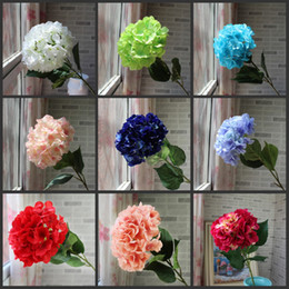 Wholesale Real Wedding Centerpieces - Artificial Hydrangea Flower 80cm Fake Silk Single Real Touch Hydrangeas 8 Colors for Wedding Centerpieces Home Party Decorative Flowers