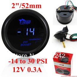 "Wholesale Digital Gauges 52mm - Wholesale- 2"" 52mm Digital Blue LED Turbo Boost Gauge-Kit with Sensor -14-30 PSI"